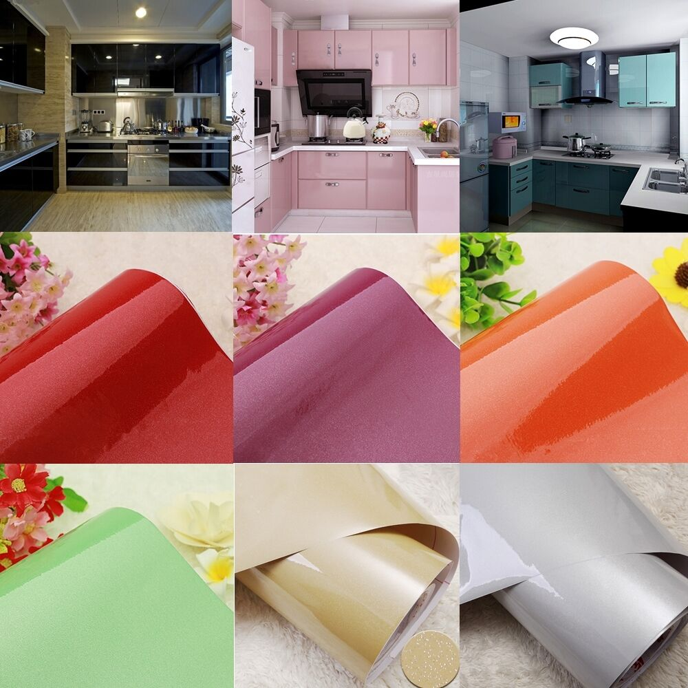 Gloss Pvc Removable Contact Paper Kitchen Cupboard Door