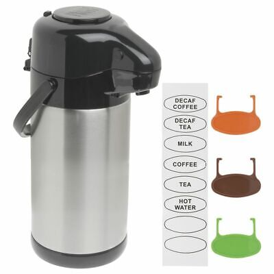 Hubert Thermal Airpot Coffee Dispenser With Pump Lid Stainless Steel 2.5 Liter