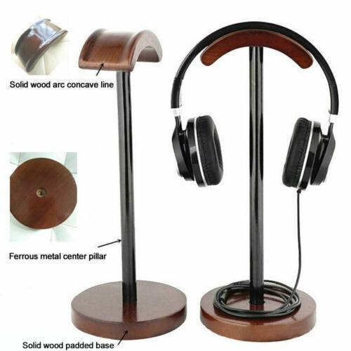 Ubiquitou Brown Wooden Display Stand Hanger Holder Rack for Headset Earphone ~