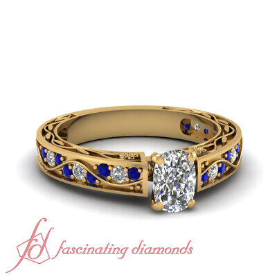 1 Carat Sapphire And Cushion Cut Diamond Antique Looking Engagement Rings GIA