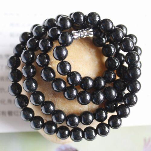 "CERTIFIED Grade A Natural Untreated Black Jadeite JADE Necklace 21"" #N180"