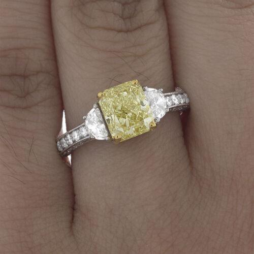 Antique Style GIA 2.75 Carat Fancy Yellow Radiant Diamond Engagement Platinum