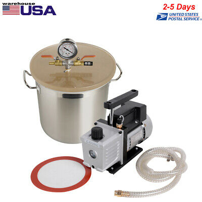 5 Gallon Vacuum Degassing Chamber Kit 3cfm Pump Stainless Steel Machine Usa Sale
