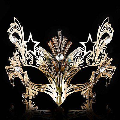Womens Luxury Light Metal Laser-Cut Venetian Mardi Gras Masquerade Mask - Gold Masquerade Mask