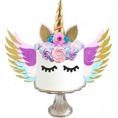 unicorn cake topper with wings - unicorn birthday supplies - unicorn cake kit (Birthday Cake Supplies)