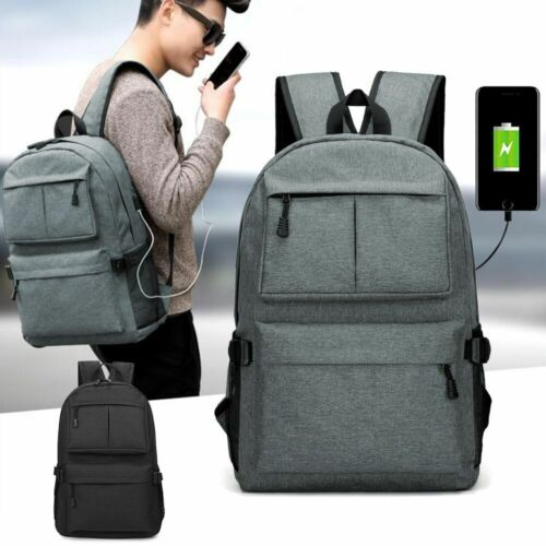 Anti-theft Mens USB Charging Backpack Laptop Notebook Travel
