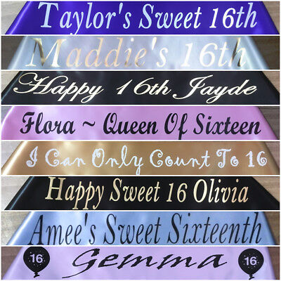 16th Birthday - Personalised Party Sash - Any Wording - Any Name - 20 Colours