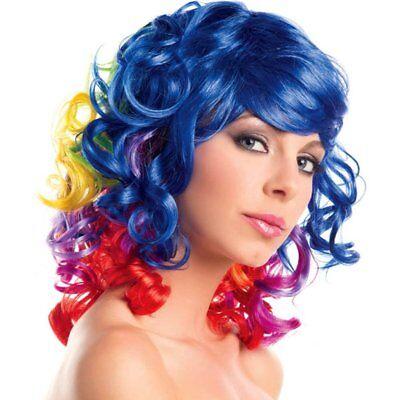 Party King Rainbow Curly Bob Costume Wig - King Bob Costume