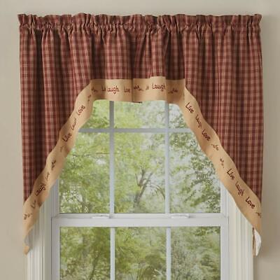 LIVE LAUGH LOVE SWAG VALANCE : 36x72 RED PLAID EMBROIDERED BERRY COUNTRY WINDOW