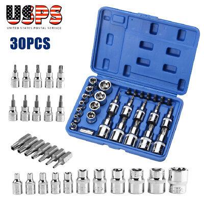 (29PCs Torx Star Socket Set & Bit Male Female E & T Sockets With Bit Tools Set)