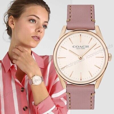 NWT in Box🌸Authentic Coach 14503107 Modern Luxury Dusty Rose Leather Band Watch