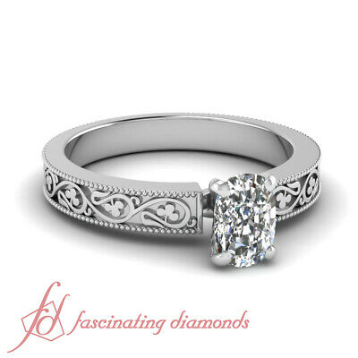 Vintage Style Cushion Cut 1 Ct Diamond Platinum Engagement Rings For Women GIA