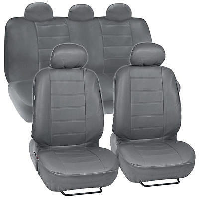 Gray Synthetic Leather Car Seat Covers Full Front & Rear Set with 5 Headrests