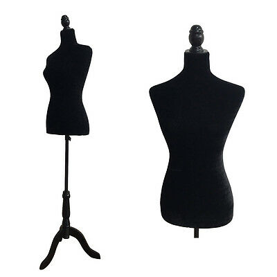 Female Mannequin Torso Clothes Dress Glass Form Display Tripod Stand Black