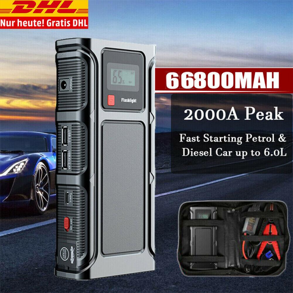 68800mAh Jump Starter 2000A Auto KFZ Starthilfe Ladegerät Booster Powerbank PKW