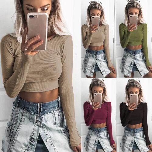 Women Long Sleeve O-neck Tight Elastic Tight T-shirt Blouses Short Crop Tops