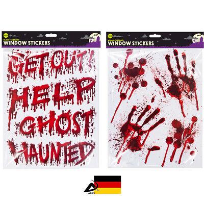 Halloween HÄNDE ABDRUCK FENSTERAUFKLEBER grusel Aufschrift Blut Spiegel - Halloween Fenster Aufkleber