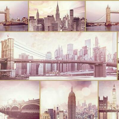 New York London City Scene Landscape Wallpaper Glitter Blush Pink Vinyl Arthouse