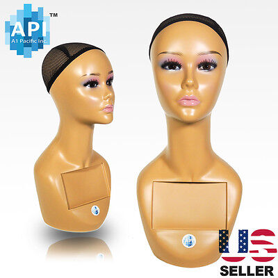"Realistic Plastic Female Mannequin head lifesize display wig hat 18"" A1"