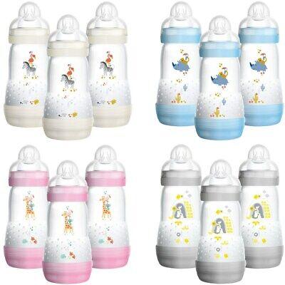 MAM 3x 260ml Babyflaschen Set Anti-Kolik mit Sterilisatorboden Sauger Gr. 2 Neu
