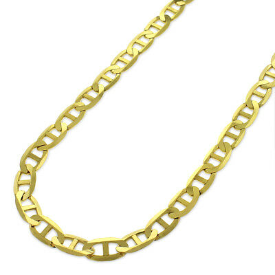 10k Yellow Gold 5mm Solid Mariner Anchor Link Flat Necklace Chain 16