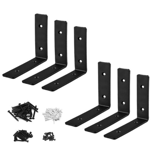 6 Packs 6 Inch Iron Right Angle L Bracket for Shelves Furniture Wood 5mm Thick
