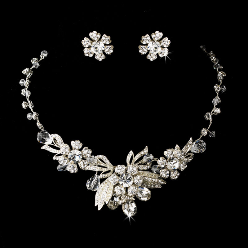Vintage Inspired Silver Crystal Flower Design Bridal Necklace Wedding Jewelry