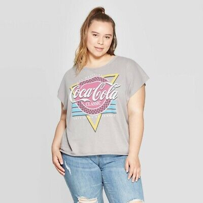 Women's Coca-Cola Plus Size Short Sleeve Classic T-Shirt (Juniors') - Gray/Red/B