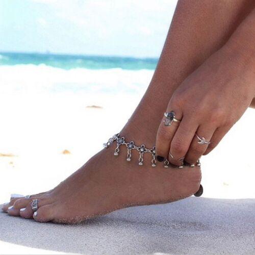 Droplets Daisy Summer Flower Metal Beach Jewelry Ankle Bracelet Tassel Anklet