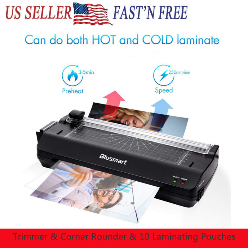 A4 Photo Hot Cold Laminator Fast Speed Film Laminating Machine + Free 10 Pouches