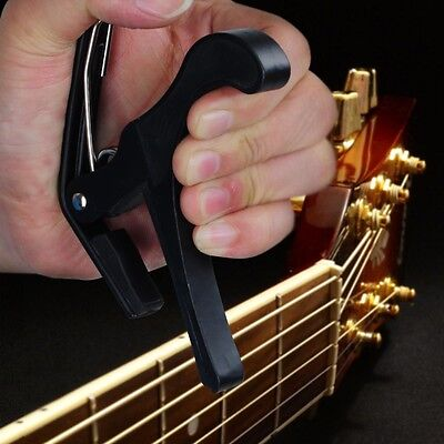 Quick Change Clamp Key Trigger Capo For Acoustic Electric Classical Guitar Black
