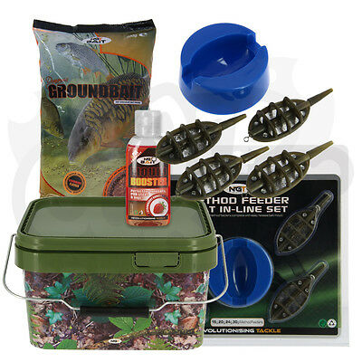 NGT Carp Fishing Ground Bait 4 + 1 Inline Feeder 5L Square Bucket + 50ml Liquid