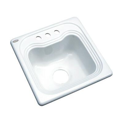 Oxford Drop-in Acrylic 16 in. 3-Hole Single Bowl Entertainment Sink White
