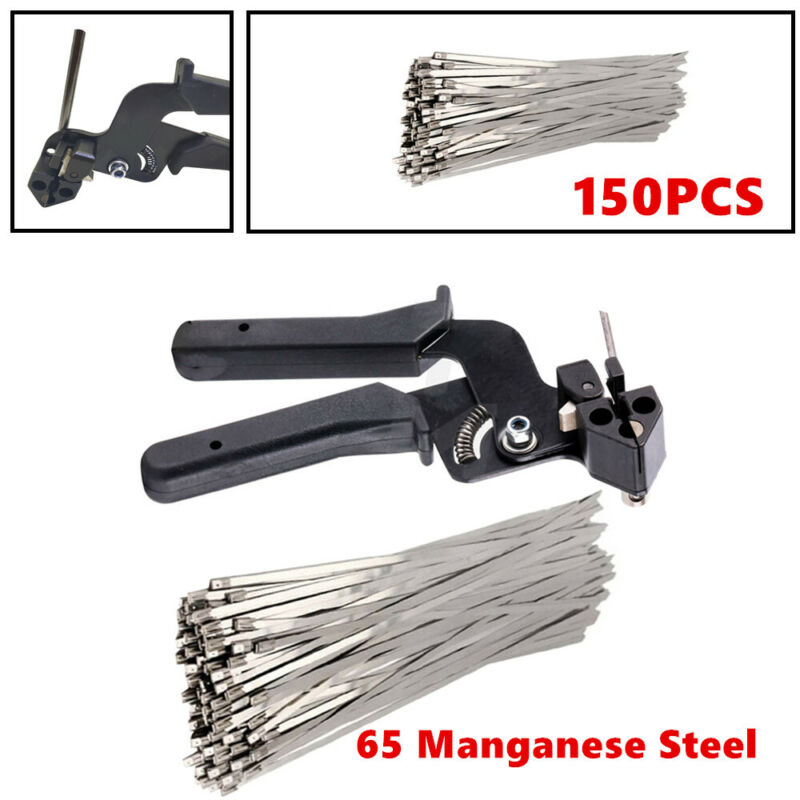 150X Stainless Steel Exhaust Wrap Zip Cable Tie Gun Tightener Cut Fasten Tools