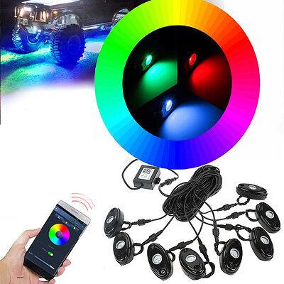 8 X RGB LED Rock Lights Pod Music Mini Bluetooth Flashing Multicolor Off Road