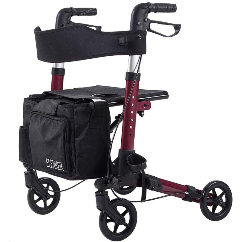 OEM ELENKER Folding Upright Rollator Walker Medical 4 Wheel LightWeight