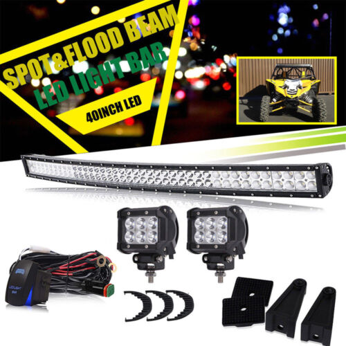 "Yamaha YXZ 1000R LED Light Bar Kit w/ 2 Pods + wiring Fit 2016 2017 42"" Bar 240W"