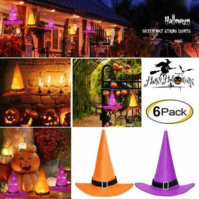 Halloween Decorations Witches Outdoor (10M 6PCS Halloween Decorations Witch Hats Caps String Lights Outdoor Lights)