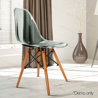 Transparent Polycarbonate plastic Beech wood Legs Dining Chairs