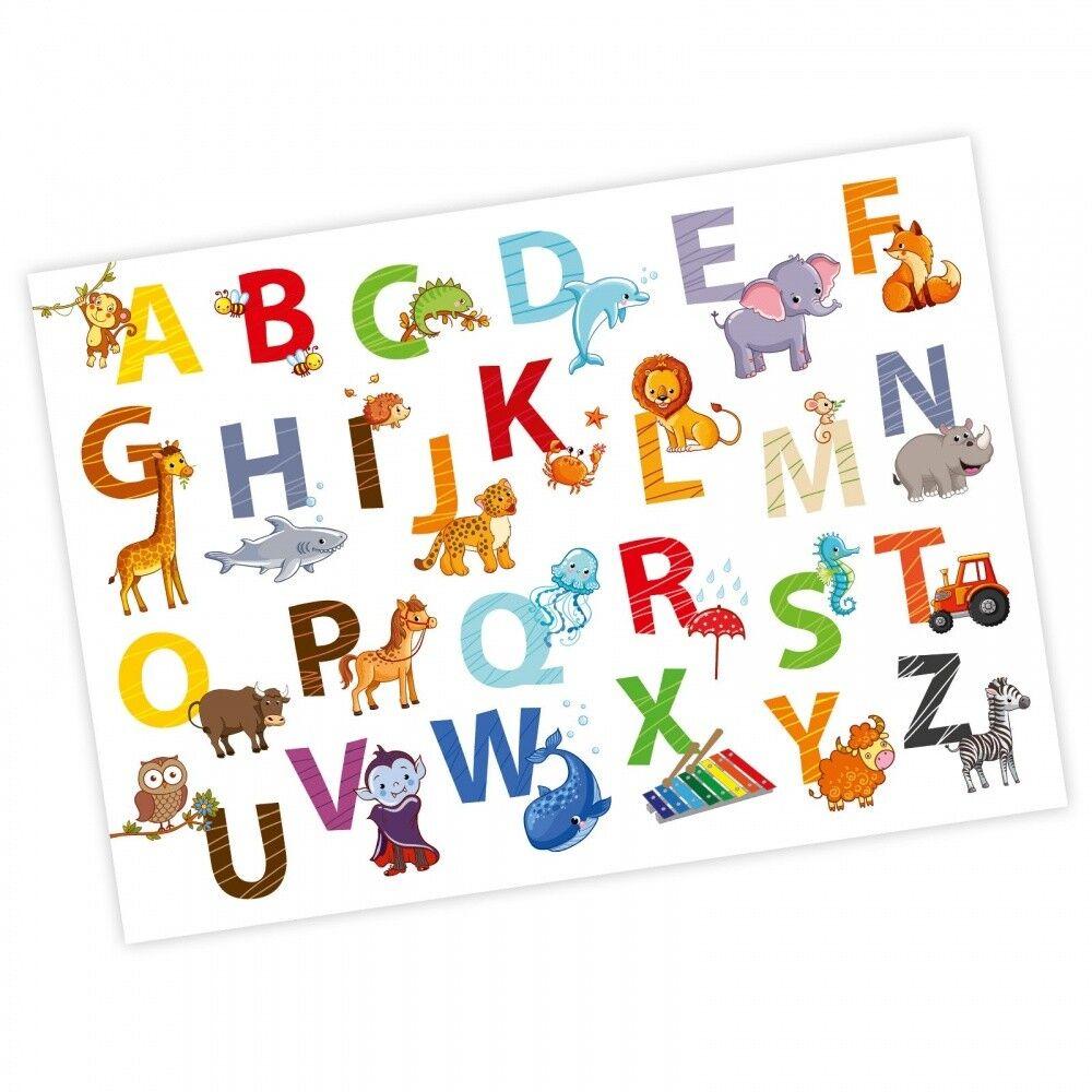 nikima - Kinder Tiere ABC Poster Plakat Alphabet Buchstaben Kinderzimmer Deko
