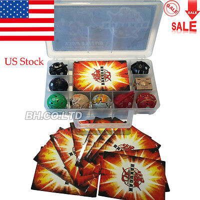 US Children Bakugan Battle Brawlers + Case With 9 Different Boy Bakugans & Cards