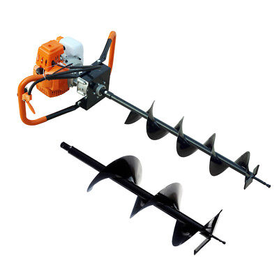 2.2hp Gas Powered 52cc Engine One Man Post Hole Digger Auger Drill Bits 6 10