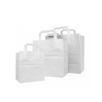 Pack Of 250 Kraft White Paper Carrier Bags 8 x 10 x 5 Light Weight Heavy Duty