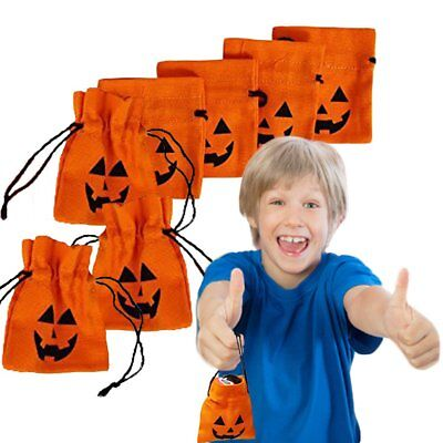 Halloween Treat Holders - Toy Cubby 4 Inch Goody Drawstring Canvas Bags - 12