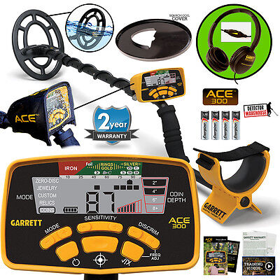 Garrett Ace 300 Metal Detector Waterproof Coil  Headphones   Free Accessories
