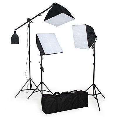 3x lampes softbox continue studio photo kit d'éclairage lumière flash + trépieds