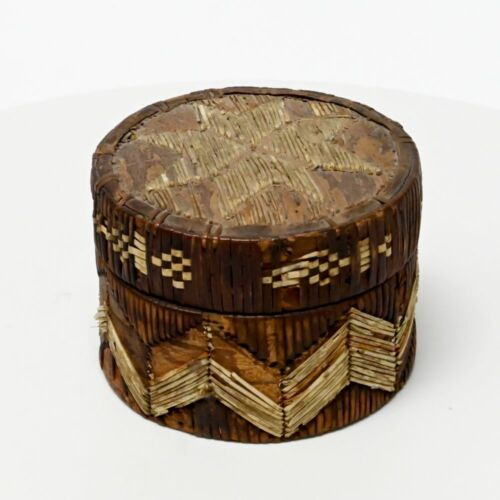 Round Quilled Micmac birch bark and dyed porcupine quill basket, lid with star