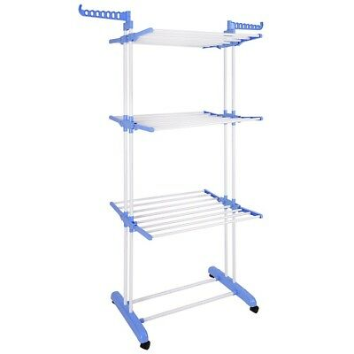 3 Tier Clothes Drying Rack Folding Organizer Stand, White