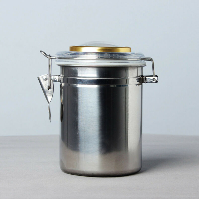MUXIANG Pipe Tobacco Jar Stainless Steel Storage Container with Hygrometer