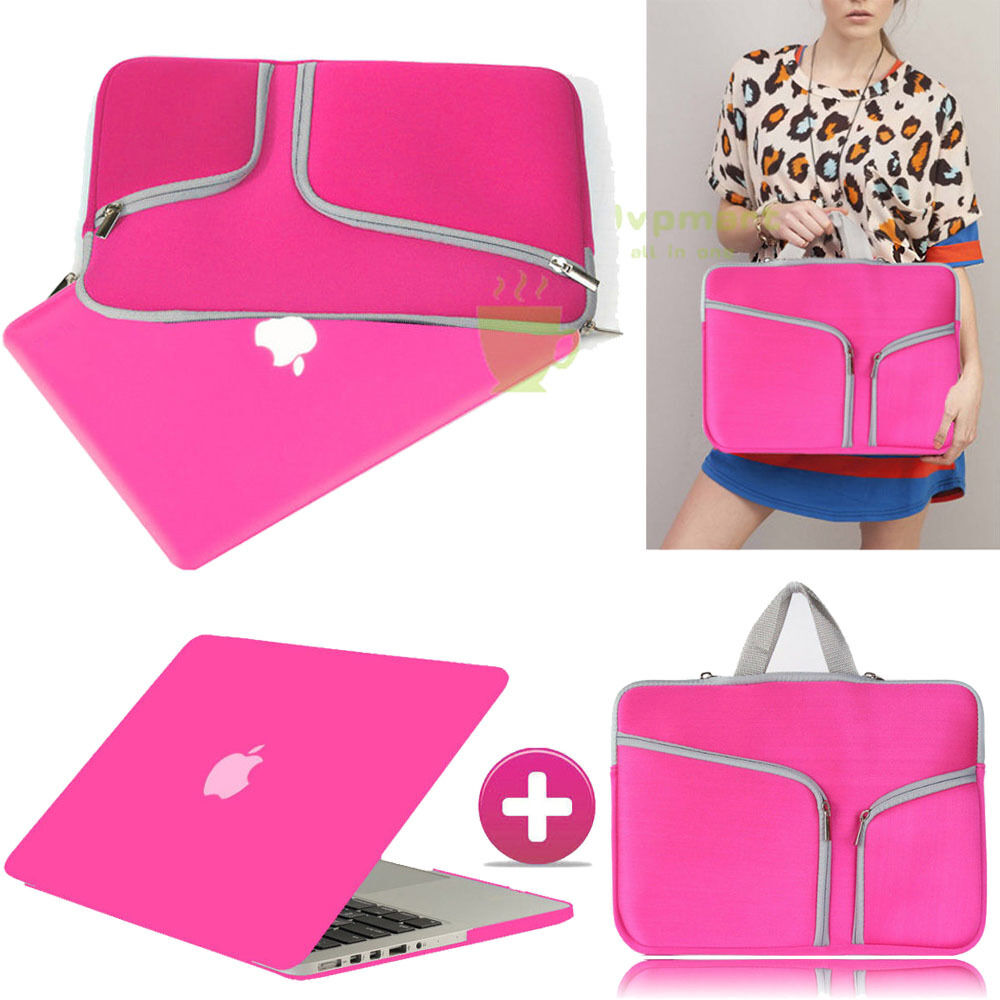 Hot Pink Rubberized Case Cover +sleeve Bag For Macbook Pr...